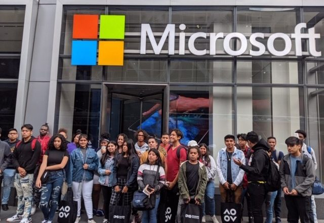 Liberty Partnership Students in front of Microsoft